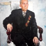 Portrait of veteran. Oil on canvas