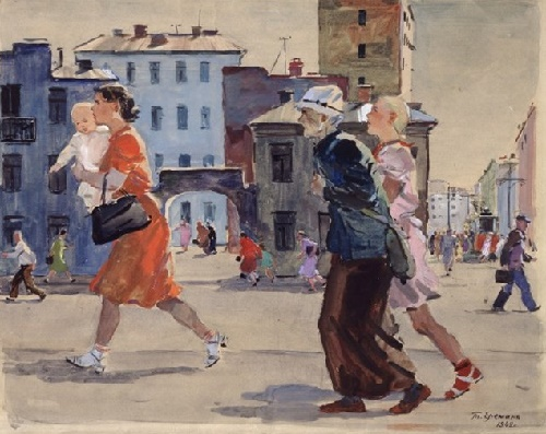 Tatyana Yeryomina (1912-1995). Air raid. Moscow 1942