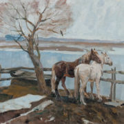 Two horses. Oil on canvas. 1960s