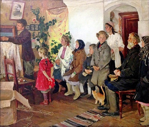 Viktor Kiselev (1907-1985). Radio in the collective farm. 1951