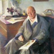 Zinaida Kovalevskaya (born 1902). Portrait of Pavel Benkov, merited artist of Uzbek SSR. 1945. Oil on canvas
