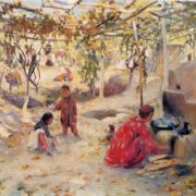 Zinaida Kovalevskaya. Born 1902. A Yard. 1947. Oil on canvas