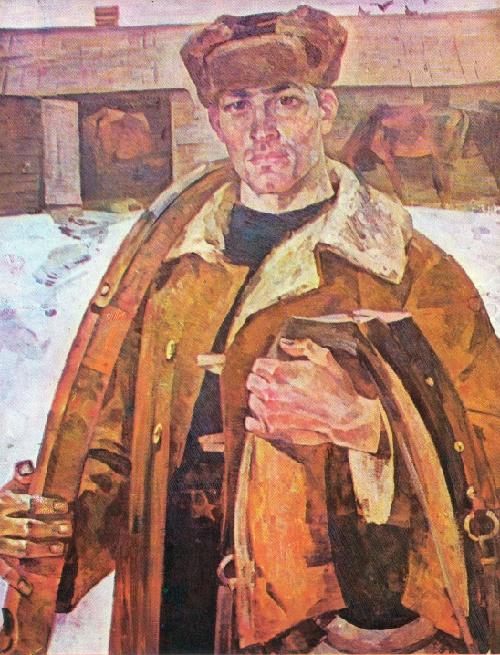 State farm groom. Canvas, oil. 1969. Soviet artist Alexandr Kirchanov (August 28, 1919 - July 27, 1987)