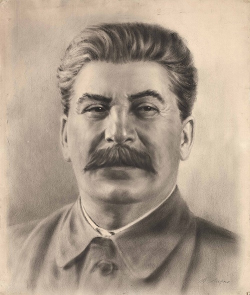 Drawing 'Portrait of I.V. Stalin '. USSR, 1930. Socialist Realism, Genre - Portrait. Paper, pencil, mixed media