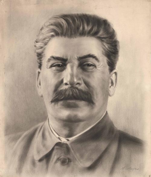 Drawing 'Portrait of I.V. Stalin '. USSR, 1930. Socialist Realism, Genre - Portrait. Paper, pencil, mixed media