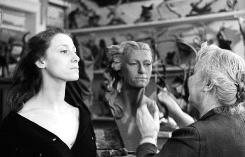 Maya Plisetskaya posing in the workshop of Soviet Sculptor Elena Yanson-Manizer 1890-1971