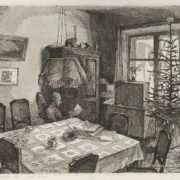 Nikita Rodionov (1947-1998). Interior with New Year tree. 1982