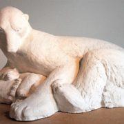 Polar bear with a cub