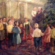 Unknown artist. Lenin with children on Christmas day party