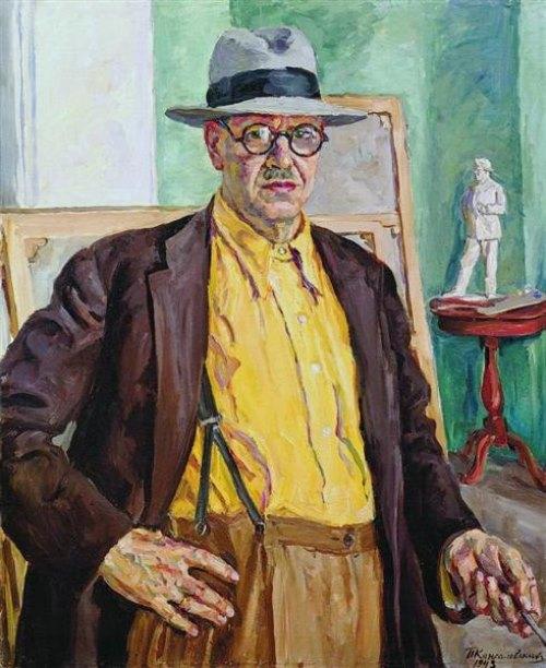 1943, Self-portrait. Soviet Russian artist Pyotr Konchalovsky (February 21, 1876 - February 2, 1956)