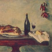 1946 painting. Still life with bread and meat