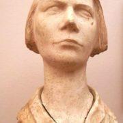 1985, ceramic bust of Dusya Vinogradova. Sculptor Dmitry Tugarinov