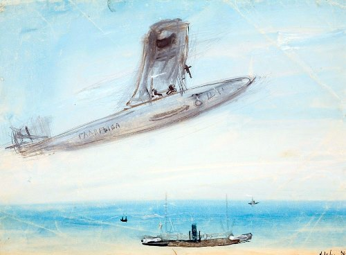 Crimea. Plane and steam ship. 1936