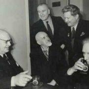 From left to right - P. Konchalovsky, K. Yuon, M. Saryan. Standing - A. Deineka, F. Bogorodsky. 1953
