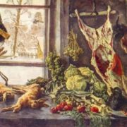 Meat, poultry and vegetables at the window. 1937. Oil on canvas
