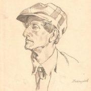 Pencil drawing. Self-portrait. 1956