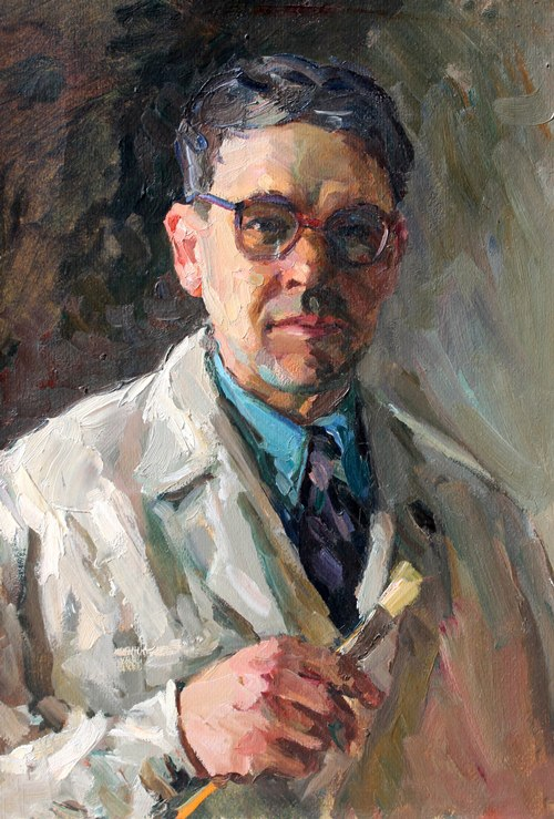 Self-portrait. Socialist realism painter Fyodor Stukoshin