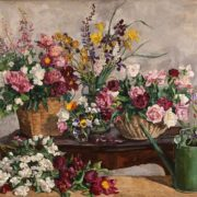 Still life with different flowers and water can. 1932