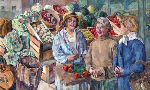 At the vegetable stall. 1932. Soviet Russian avant-garde artist Aristarkh Lentulov (January 16, 1882 - April 15, 1943)