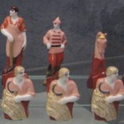 Detail, Red and White Army. Soviet porcelain chess