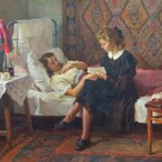 Ivan Tikhiy (born 1927). At sick friend's. 1950s