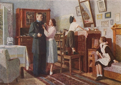 New Uniform, 1953. Oil on canvas. Soviet artist Nikolai Ponomarev 1918-1997