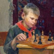 Playing chess. 1949. Artist G.I. Tseitlin
