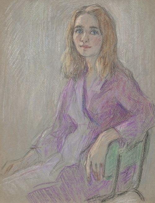 Portrait of a girl in a purple dress