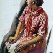 Portrait of pioneer. 1937. Yulia Razumovskaya (1896-1987)