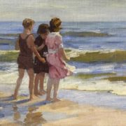 Three girls at the sea