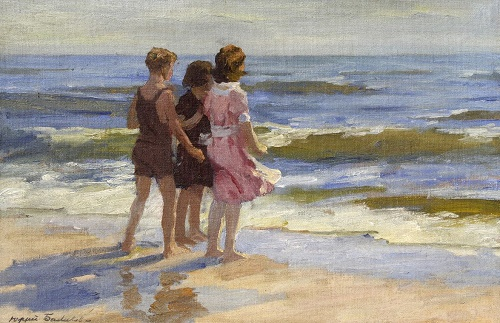 Three girls at the sea