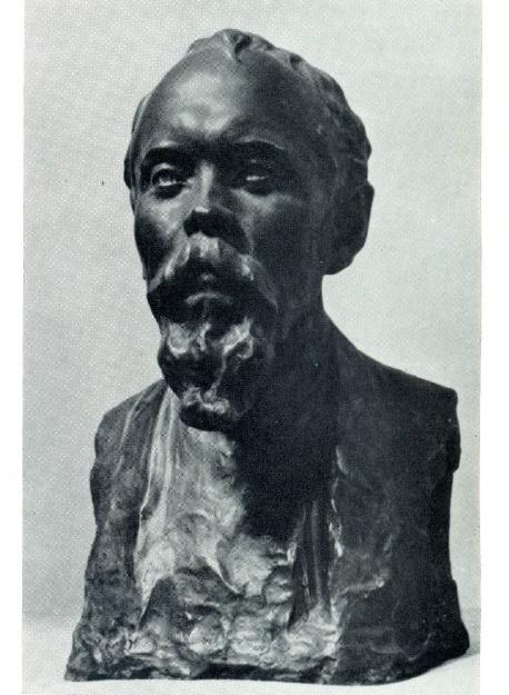 Portrait of sculptor V.A.Vatagin. Tinted gypsum. 1923