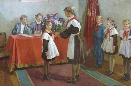 Pioneers in paintings of Soviet artists. Ya. V. Titov. Admission to the pioneers