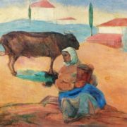 A woman with a bull-calf. 1926