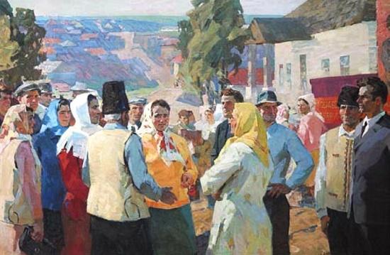 Soviet Russian painter Viktor Ladeyschikov. Caucasian. 1979. Oil on canvas