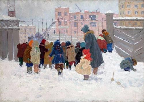 Children on winter walk. 1978. Soviet artist Nadezhda Vorobyova (14 April, 1924 - 9 July, 2011)