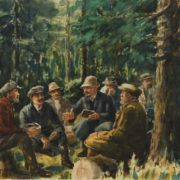 Meeting of Alibi Djangildin with Lenin. Watercolor, paper. 1960