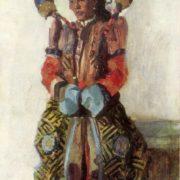 Mongolian girl in national costume. 1954