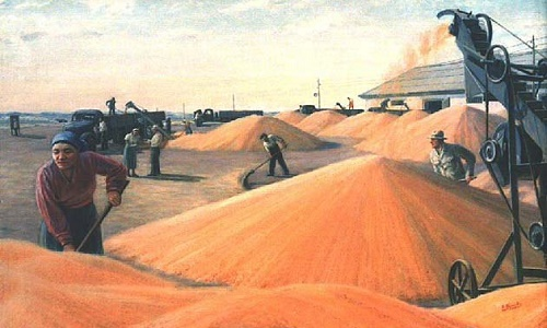 On the granary. Soviet Kazakh artist Abylkhan Kasteyev (1904-1973)