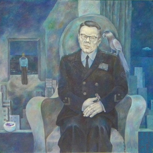 Portrait of a veteran submariner. The Submariner remembers the past. Hardboard, oil. 1984