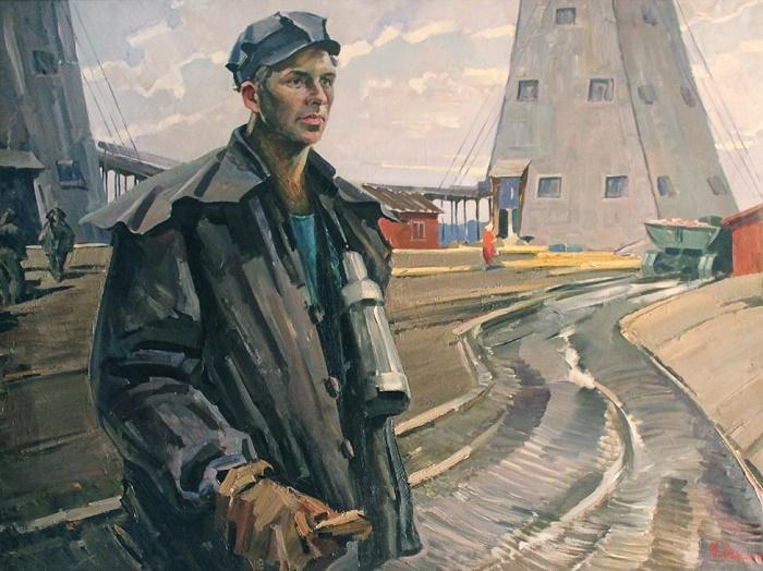 The noble miner NN Gerasimenya, 1960. Soviet Belarusian artist Mai Dantsig (27 April, 1930 - 26 March, 2017)