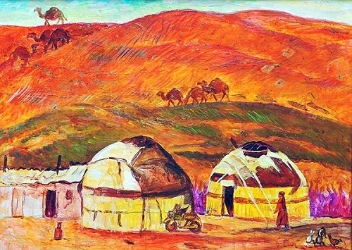 Turkmen landscape. Soviet Turkmen artist Chary Amangeldyev