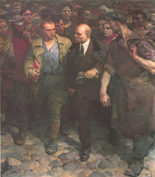 With Lenin. Oil. 1961