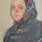Woman in a shawl. Oil