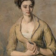 1961 painting. Portrait of a girl