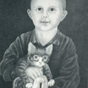 A.M. Trushin. A boy with a kitten. 1975