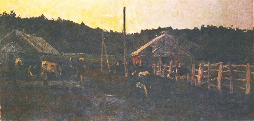 Animal Farm in Priluki. Oil. 1968