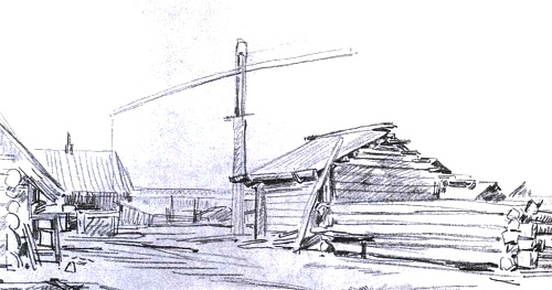 In Belyaevka. Pencil. 1972