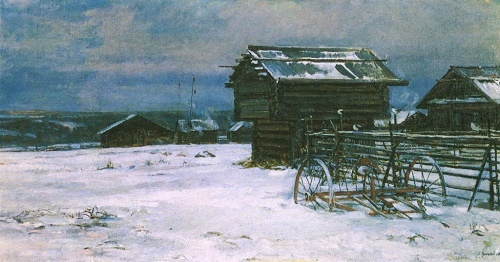 Pokrov (Cover, religious festival in the beginning of winter, when the ground is covered with snow). Oil. 1981