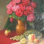 Flowers and fruits still life. 1954. Oil, canvas